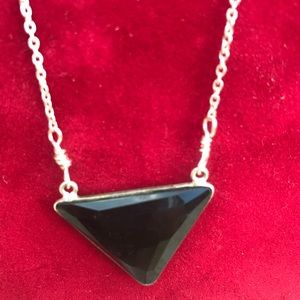 """Black onyx and Silver Plate Necklace  18"""". NWT"""